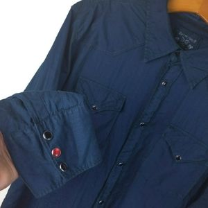 Guess Jeans Blue Pearl Snap Button Western Shirt
